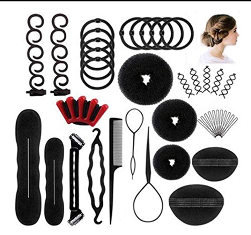 Donut Bun Maker Hair Styling Accessories Kit Set Braid Tool for Making DIY Hair Styles Magic Simple Fast Spiral Hair for Girls Women (set a) (Simple And Best Hairstyle)
