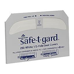 Georgia-Pacific Safe-T-Gard 47046 White 1/2-Fold Toilet Seatcover, 17\