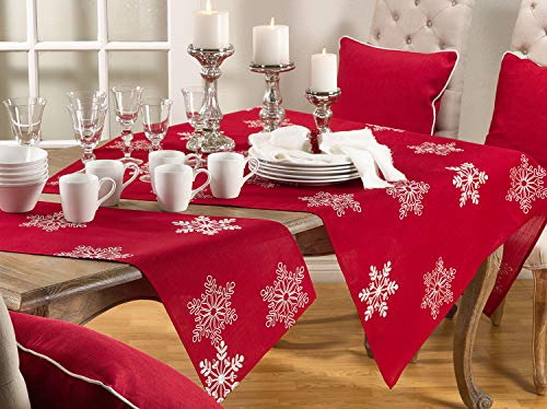 "fenncostyles.com Embroidered White Snowflake Holiday Christmas Red Table Runner. 16""x70"" Rectangular. One Piece."