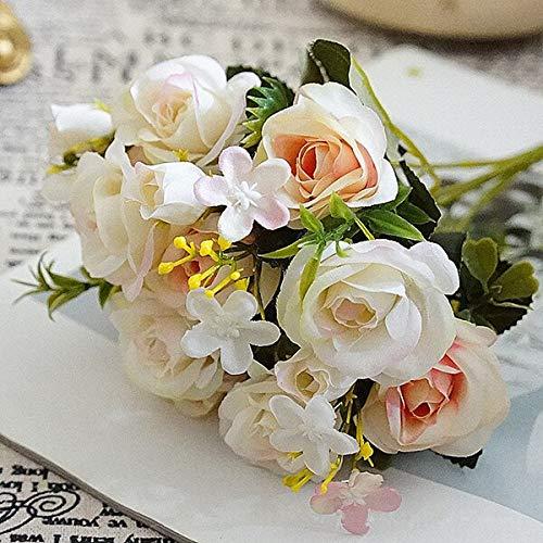 (CoronationSun - Decor Flower Home - Artificial Roses Flower Bouquet Decorative Silk Flowers Table Arrange for Wedding Home Party Decoration Accessory Length:28cm, Diameter :4cm)