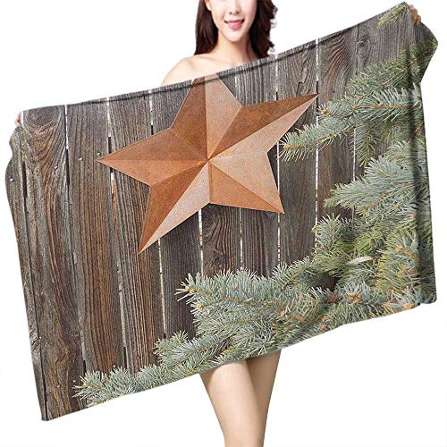 homecoco Printed Bath Towel Primitive Country Big Orange Star on Rough Wood Fences Pine and Branches Print W31 xL63 Suitable for bathrooms, Beaches, Parties ()