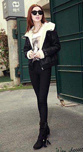Mode flache Schuhe weiches Leder lässig Stiefel Damen Stiefel Schwarz