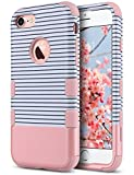 iPhone 7 Case, ULAK ANTI-SLIP Heavy Duty Protection Shockproof Soft Rubber & Silicone Dual Layer Protective Case for Apple iPhone 7 4.7 inch, Rose Gold Stripes