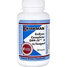 Kirkman Enzyme Complete/DPP-IV II w/Isogest® | 180 vegetarian capsules || Free of common allergens || Gluten Free || Casein Free