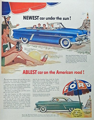1952 Ford Car, 50's Scarce print ad. Full Page Color Illustration. (1952 Ford Sunliner Convertible) original 1952 Life Magazine Art