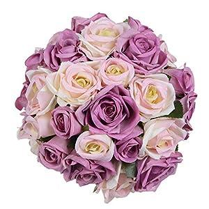 MARJON FlowersArtificial Flowers Rose Bouquet, Fake Flowers Silk Plastic Artificial Floral Roses 9 Heads Bridal Wedding Bouquet for Home Garden Party Wedding Decoration (Purple-White) 1