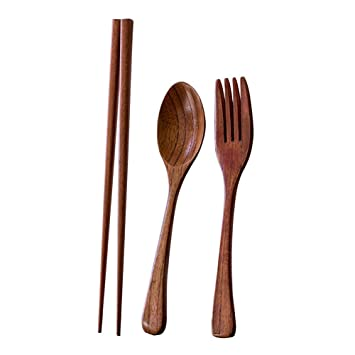 Portable Wooden Spoon Fork Travel Camping Picnic Tableware Flatware Utensil