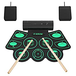 9 Pads Electronic Drum Set, Roll-up Portable Drum Kit with Built-in Dual Speaker, Foot Pedals/Drumstick, MIDI Drum…