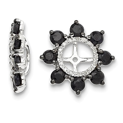 Sterling Silver Diamond & Black Sapphire Earring Jacket by CoutureJewelers