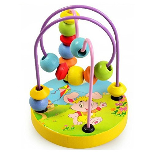 Sealive 1 pc Colorful Baby Kids Wooden Mini Around Beads Wooden Toy Educational Game Toy ,Perfect Gift for 1-3 Years Old (Party City Melbourne)