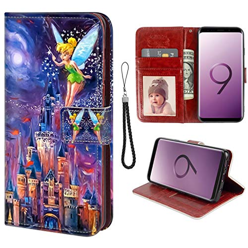 for Samsung Galaxy S9 Wallet Case Tinkerbell at Cinderella Castle Flip Leather Case with Kickstand PU Leather Stand Folio Cover Case for Samsung Galaxy - Castle Tinkerbell