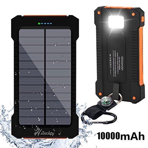10000mAh Solar Ladegerät, Hiluckey Dual USB Schnittstelle Externer Akku tragbar Power Bank, Solar Panel Batterie LED Taschenlampe für iPhone, iPad, Android-Handy, Tablet, Kamera usw (Orange)