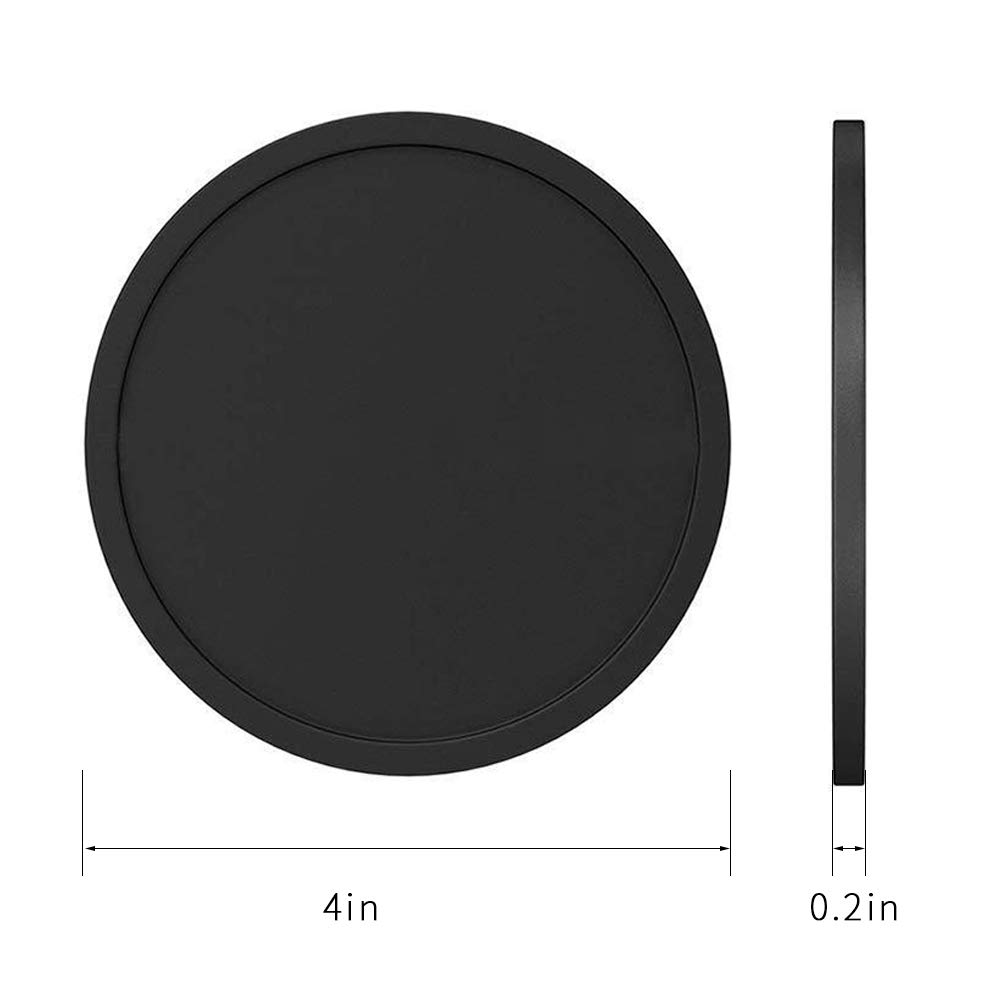 Drink Coasters Set of 8, Alotpower Silicone Coasters Soft Coaster Black Protect Your Furniture From Spills, Scratches and Damage, Fits Any Size of Drinking Glasses