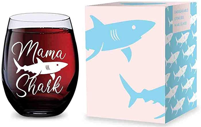 Stemless Wine Glass (Mama Shark) Made of Unbreakable Tritan Plastic and Dishwasher Safe - 16 ounces