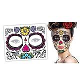 Yliquor Halloween 2PCS Dia de Los Muertos Face Mask Sugar Skull Tattoo Beauty Funny Mask (A)
