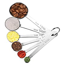 Pictek Measuring Spoons,(Food Grade)Set of 6 Stainless Steel Spoon Set for Measuring Dry/ Liquid