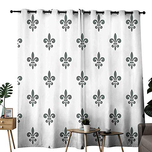 (Mannwarehouse Fleur De Lis Decor Collection Light Luxury high-end Curtains Fleur De Lis Royal Lily in Simple Old Decorating Style Ornate Antiquity Image Privacy Protection W72 x L96 Grey White)