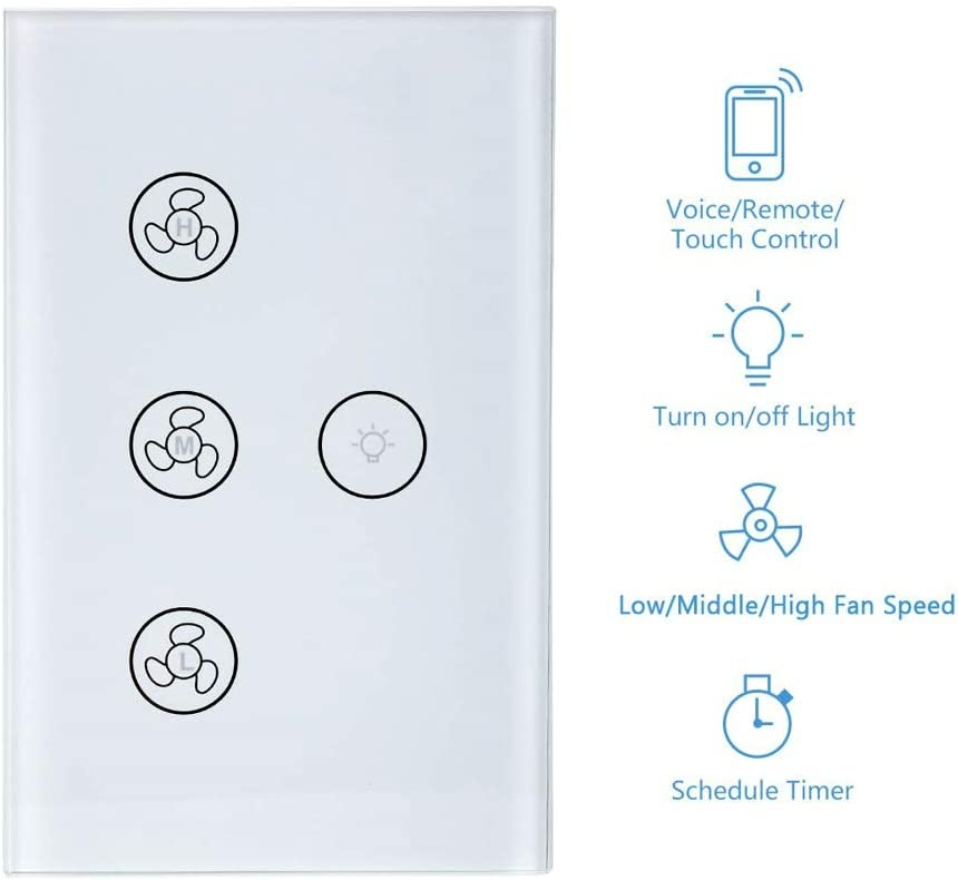 ARHEHUANG Smart WiFi Ceiling Fan Light Switch,Touch Glass Panel,APP Remote Timer and Speed Control,Compatible with Alexa and Google Home No Hub Required