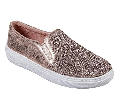 Skechers Street Goldie Shiny Shaker Womens Slip On Sneakers Rose Gold 9.5