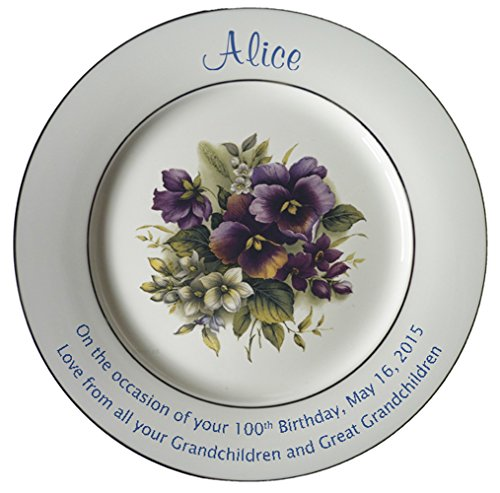 - Personalized Bone China Commemorative Plate For A 100th Birthday - Pansies Design With 2 Gold Bands