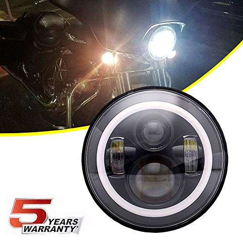 "DOT Approved Black 7"" Halo LED Headlight With Amber Turn Signal Light DRL For 93-08 Ducati Monster 1000 600 620 695 750 800 900 S4 Sport Motorcycle Projector LED Headlamp(Also Fits Jeep Wrangler)"