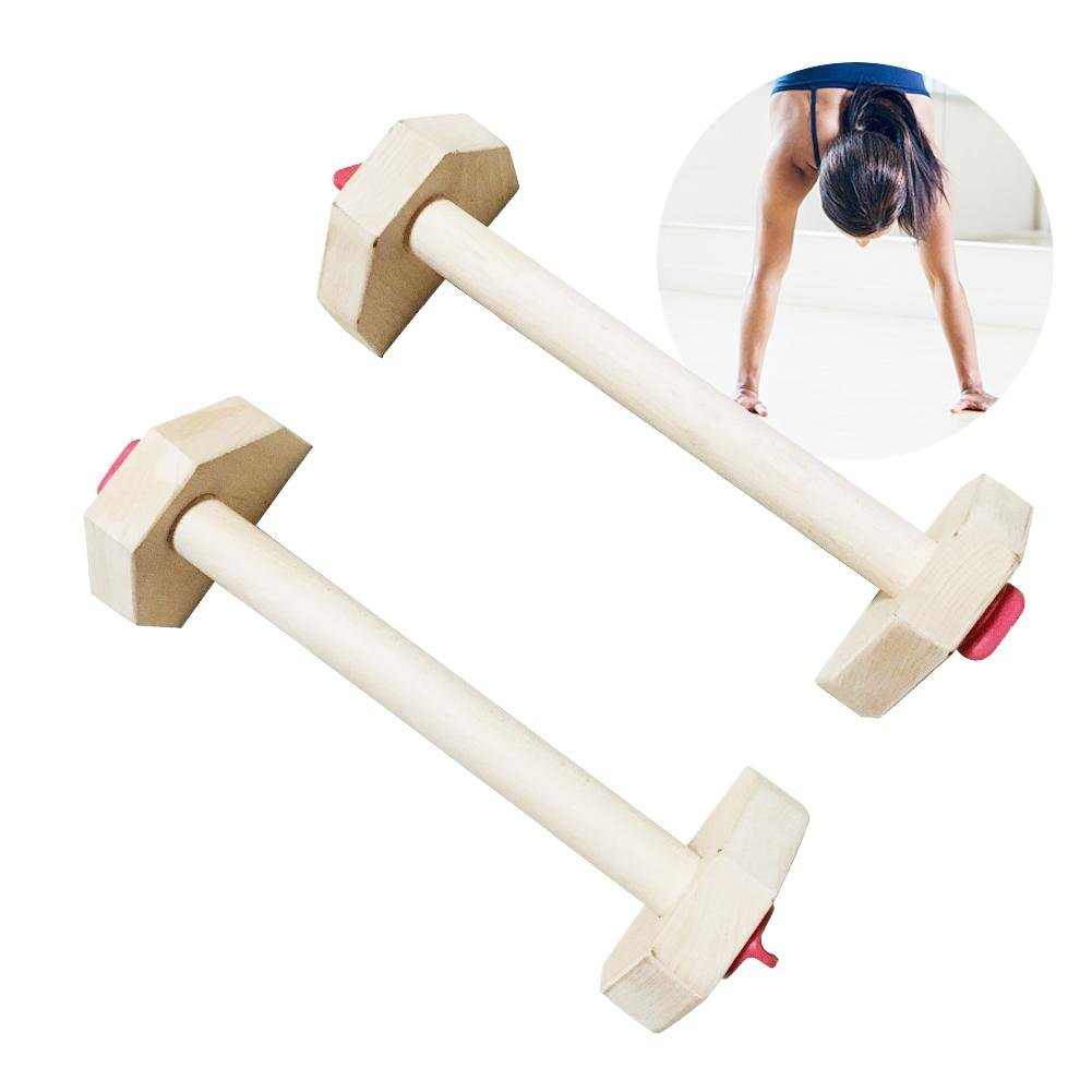 Heilsa Russian Style Wooden PushUp Stands, Women Men Portable Strength Training Equipment For Upper Body Push Ups Workout, Muscle & Strength Training by Heilsa