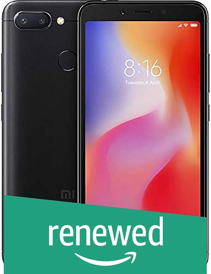 Renewed  Redmi 6  Black, 32  GB   3  GB RAM  Smartphones