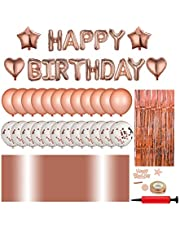 Birthday Decoration with Happy Birthday Banner, Rose gold party decoration set party supplies kit, Air pump, Dotted tape,Curtains