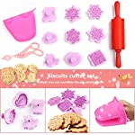 Kids Baking Set Real Cupcake Baking Supplies Silicone Cake Decorating Kit,Perfect for Girls Teens Toddlers Beginners Teenagers 10 SAFE AND EASY TO CLEAN:A Christmas gift hit,fun kids baking kits!Made of high quality food grade silicone material that design to be non-stick and dishwasher safe.These bake set are real baking tools. Recyclable, third-party tested BPA free.cupcake kit safe for children ages 5 and older KIDS REAL COOKING BAKING STARTER SET: These value attractive price baking utensils set including cupcake baking set,baking decorating set,cookie cutters and chocolate molds set PERFECT SIZE AND GIFTS SET:Very cute and vibrant color set and size is perfect for kids starter bakers!Mini cupcake cups Perfect baking supplies for kids.Set is red gift box. gift set for girls and boys who is beginning to cook