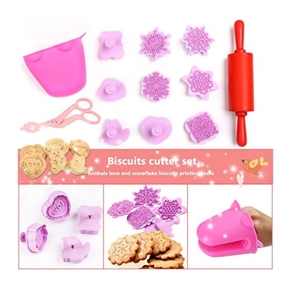 Kids Baking Set Real Cupcake Baking Supplies Silicone Cake Decorating Kit,Perfect for Girls Teens Toddlers Beginners Teenagers 3 SAFE AND EASY TO CLEAN:A Christmas gift hit,fun kids baking kits!Made of high quality food grade silicone material that design to be non-stick and dishwasher safe.These bake set are real baking tools. Recyclable, third-party tested BPA free.cupcake kit safe for children ages 5 and older KIDS REAL COOKING BAKING STARTER SET: These value attractive price baking utensils set including cupcake baking set,baking decorating set,cookie cutters and chocolate molds set PERFECT SIZE AND GIFTS SET:Very cute and vibrant color set and size is perfect for kids starter bakers!Mini cupcake cups Perfect baking supplies for kids.Set is red gift box. gift set for girls and boys who is beginning to cook
