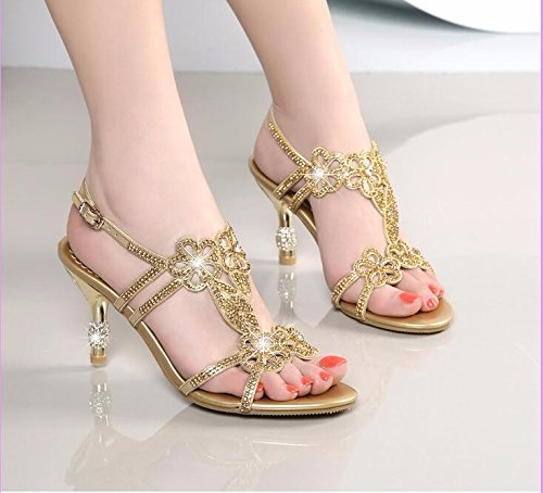 Mouths High Golden Shoes Fish Drill Diamonds KPHY Sandals Summer Heels Women'S Cx6qwA11X8