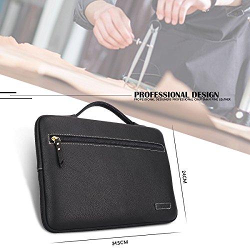 FYY Macbook 12-13.3 Zoll Laptop Hülle Sleeve, Handmade Aktentasche aus PU-Leder, Kuriertasche, Laptop-Tasche mit praktischen Taschen für 12 13.3 Laptop,Schwarz A-Schwarz
