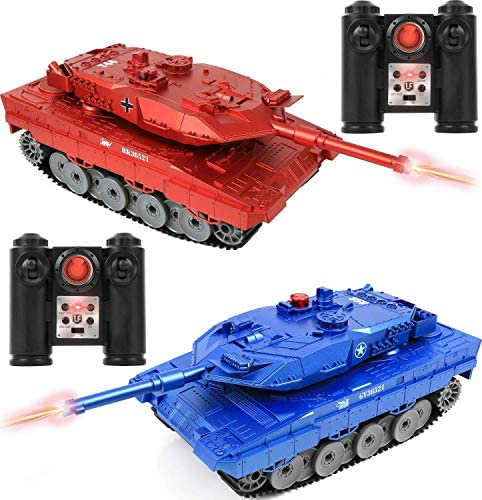 "Click N' Play RC Battle Tank Infrared Full Size 15"" Tanks with LED Indicators Rotating Turret Detailed Designed Realistic Lights & Sounds Single & Multi-Player Modes (Set of two) (CNP4792)"
