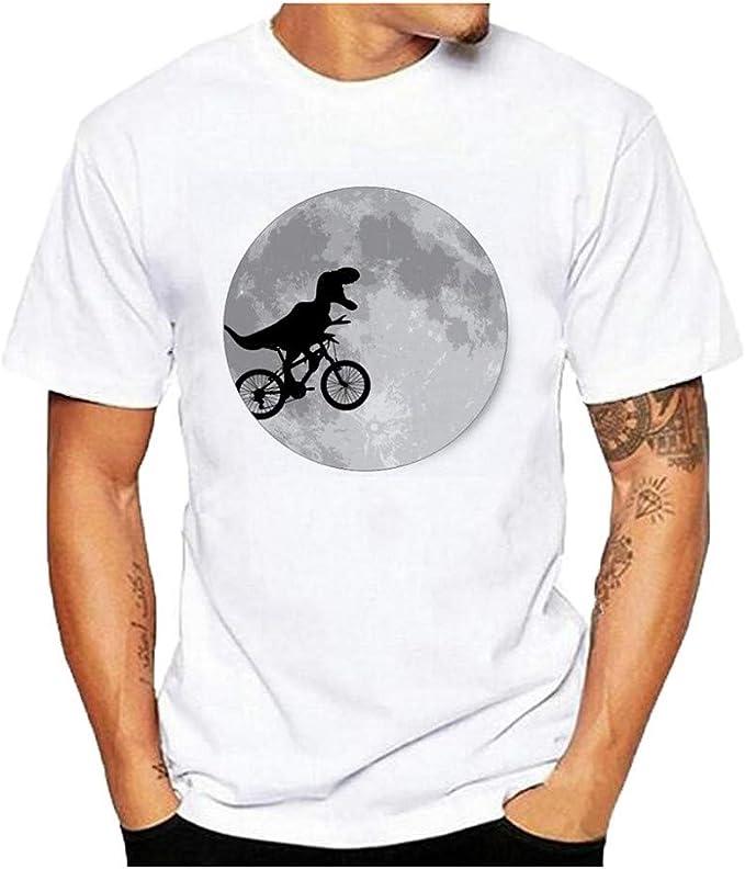 Camisetas Hombre Manga Corta Camisetas Blancas Hombre Originales Diseño de impresión de Dinosaurio Camisetas de Manga Corta con Estampado Casual para Hombre: Amazon.es: Ropa y accesorios
