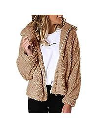 VEZAD Store Womens Zip Faux Fur Jackets Long Sleeve Fleece Fuzzy Coat Lapel Flutty Winter Outerwear