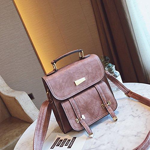 XWAN-El nuevo tipo Satchel Bag mochila bandolera Retro,Gules Pink Purple