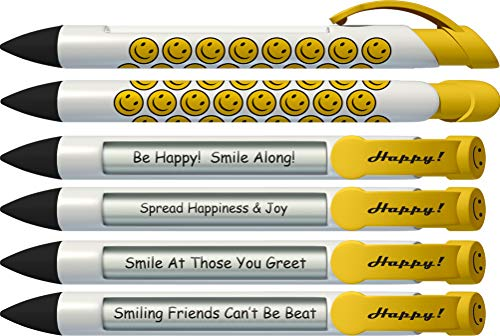 Greeting Pen Smiley Face Rotating Message 6 Pen Set (36573) (Rotating Message Pen)