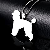 Stainless Steel Giant Poodle Silhouette Pudle Caniche Barbone Pet Dog Charm Pendant Necklace