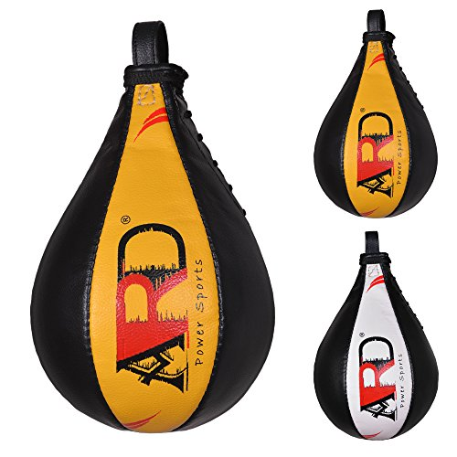 ARD Leather Speed Ball Boxing Punch Bag Punching Pear Training MMA (Yellow)