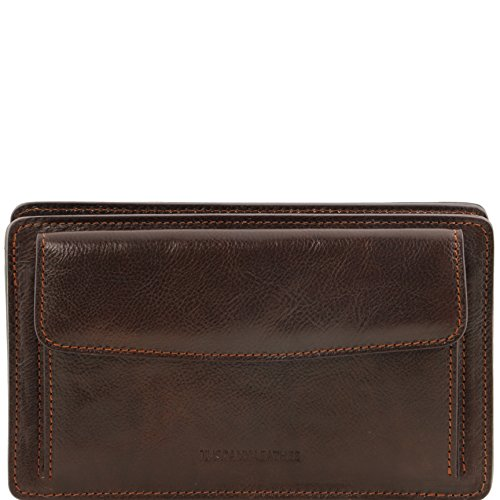 Tuscany Leather Denis Exclusive leather handy wrist bag for man Dark Brown by Tuscany Leather