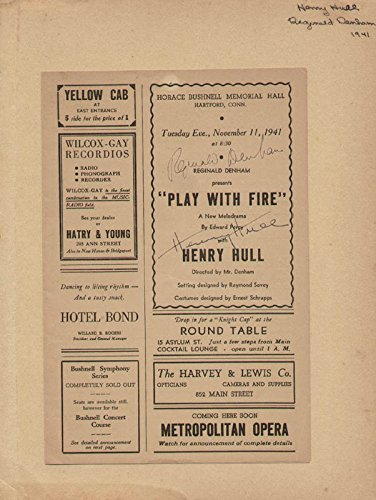 Play With Fire Play Cast Show Bill Signed Circa 1941 Co