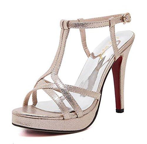 Chfso Moda Donna Gladiator Stiletto Croce Cinturino Fibbia Alla Caviglia Con Tacco Alto Sandali Con Plateau Oro