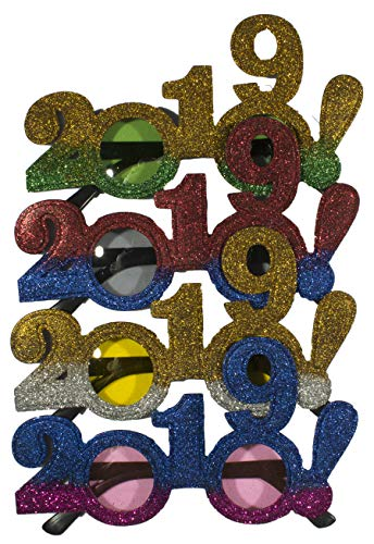 4 Pack Of 2019 New Years Eve Party Glasses (Two Tone Glitter!)
