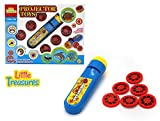 Projector Toys – a joyful tutorial play projector, an educational game of visual learning for preschoolers, projects simple images of animals with six melody slides; colorful, plastic projector torch