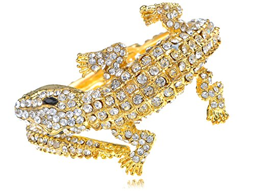 Alilang Womens Golden Tone Clear Rhinestones Exotic Alligator Crocodile Bangle Bracelet