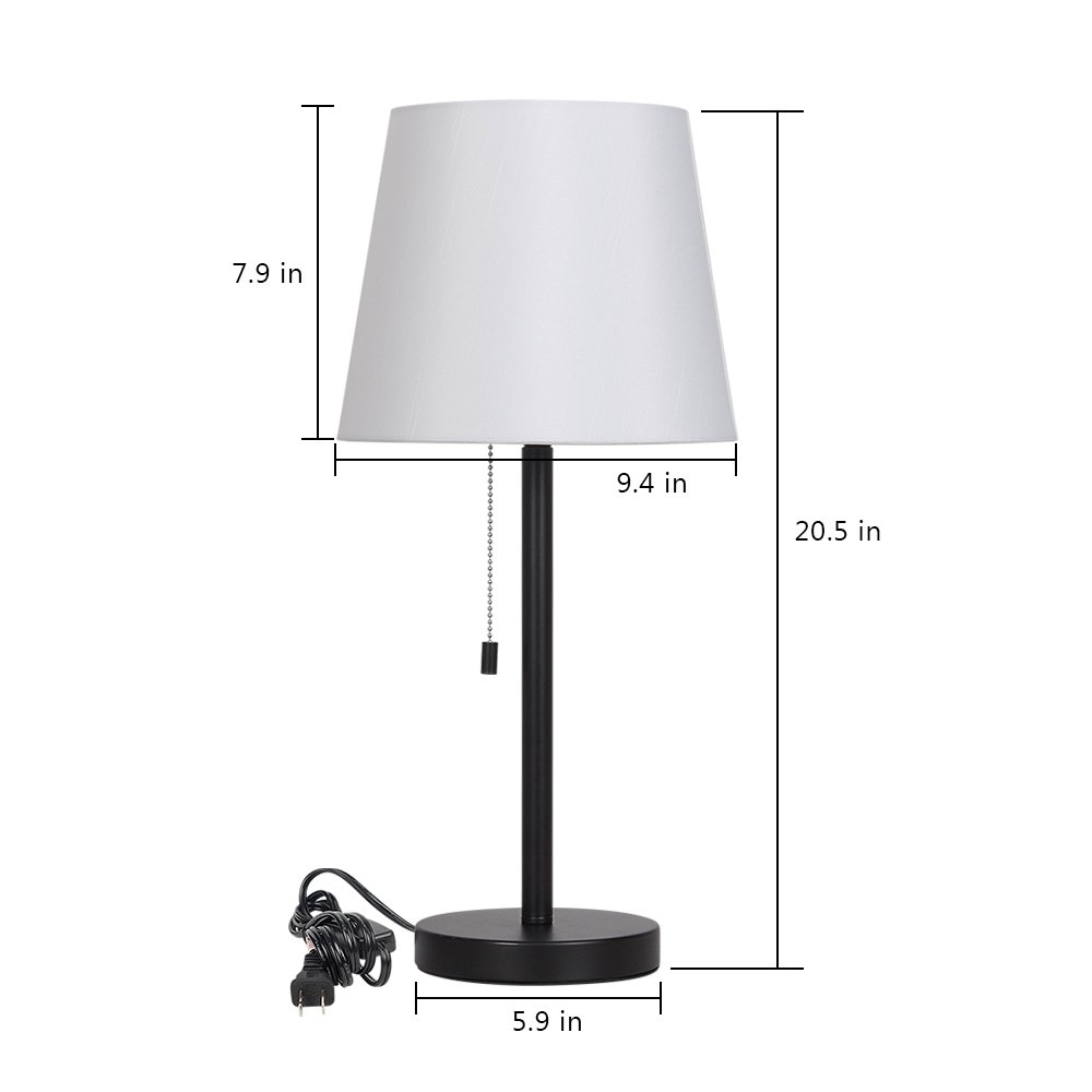 Haitral bedside table lamps set of 2 nightstand lamps - Black lamp tables for living room ...