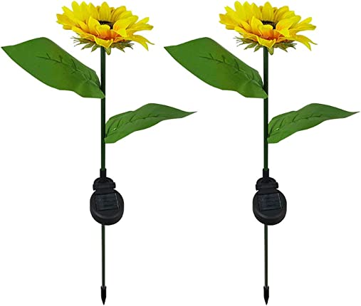 Uonlytech 2PCS Solar Path Light Vintage Sunflower Waterproof Standing Solar Garden Stake Lights LED Light Pathway Garden Outdoor Yard Decor