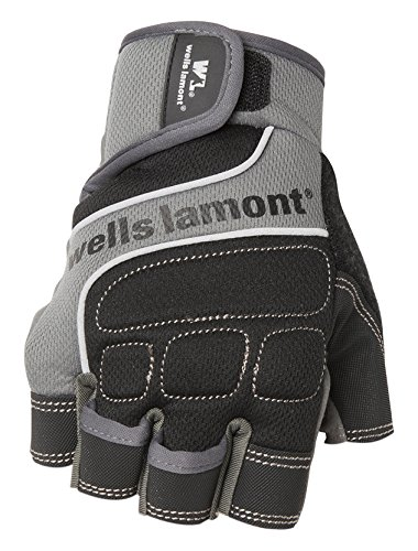 Wells Lamont Men's Fingerless Synthetic Leather Work Gloves, Grey, Large (841GL) by Wells Lamont