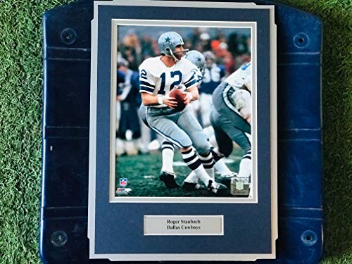 (Dallas Cowboys Roger Staubach #12 Image Photo Framed on Texas Stadium Seat Bottom)