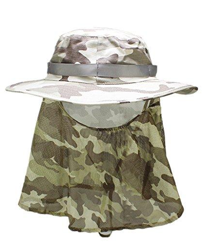 Home Prefer Men's Camouflage Bucket Boonie Hat with Mesh Neck Flap Face Mask Veil Bush Safari Outdoor Sun hat Fishing Hat Khaki
